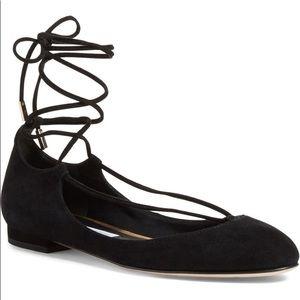 DVF Paris Black Suede Lace Up Ballet Flats, 8 💋
